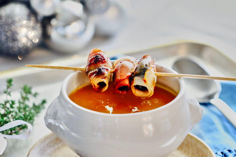 Kuerbissuppe mit Speckpflaumen